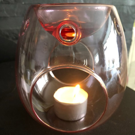 Glass Burner with Champagne & Roses Love Heart Wax Melts