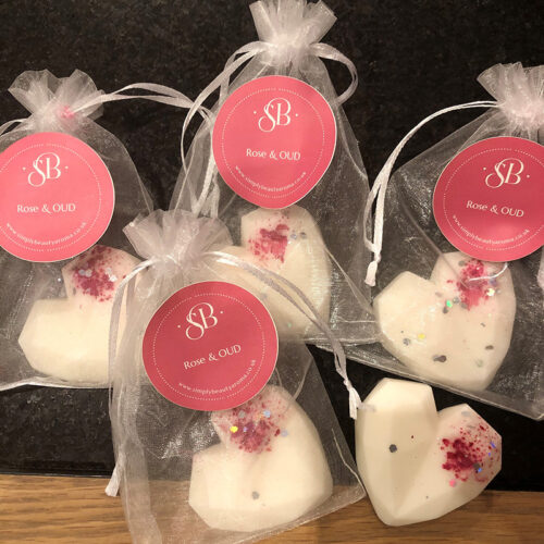 3D Heart Wax Melts in Organza Gift Bag